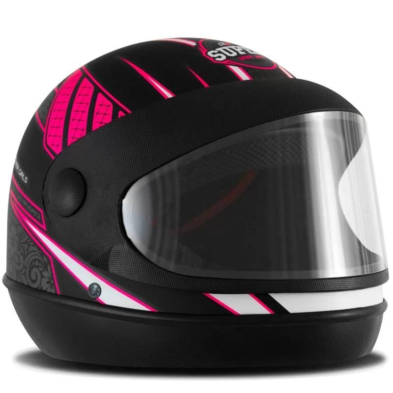 214778 CAPACETE -SUPER SPORT -MOTO -PROTORK -POWER-GIRL pretofoscolado eb018b1f182